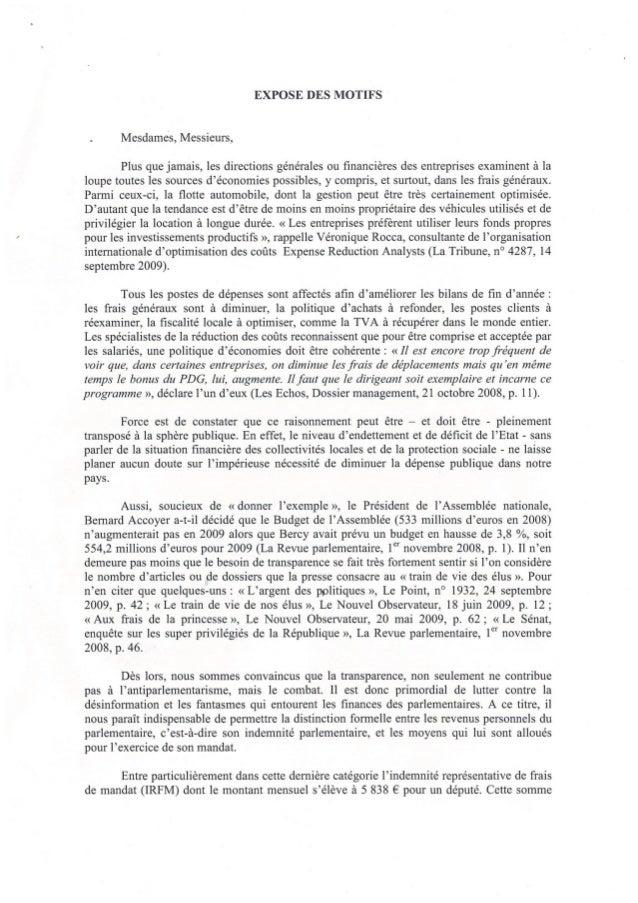 Proposition de loi Contribuables Associés - transparence sur les frais de mandat - mai 2012