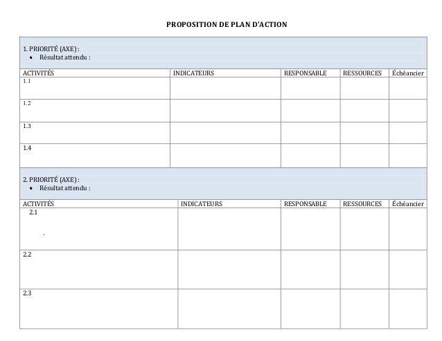 proposition de plan d u2019action vierge