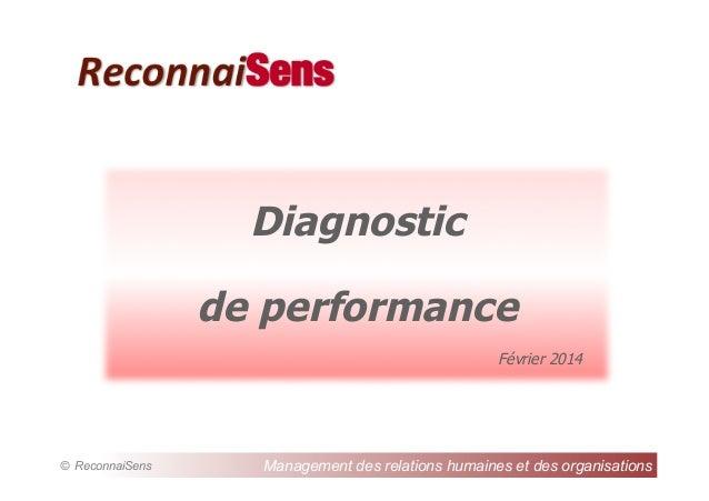 ReconnaiSens  Diagnostic de performance Février 2014  © ReconnaiSens  Management des relations humaines et des organisatio...
