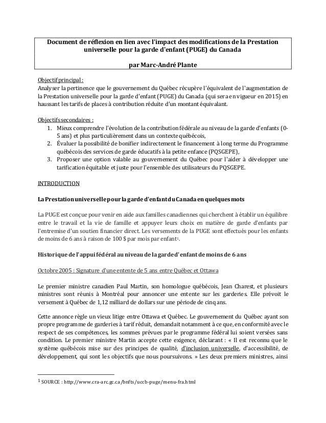Document de réflexion en lien avec l'impact des modifications de la Prestation  universelle pour la garde d'enfant (PUGE) ...