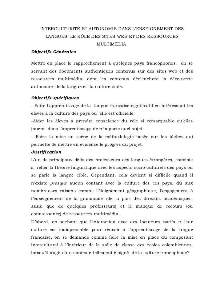 INTERCULTURITÉ ET AUTONOMIE DANS L'ENSEIGNEMENT DES       LANGUES: LE RÔLE DES SITES WEB ET DES RESSOURCES                ...