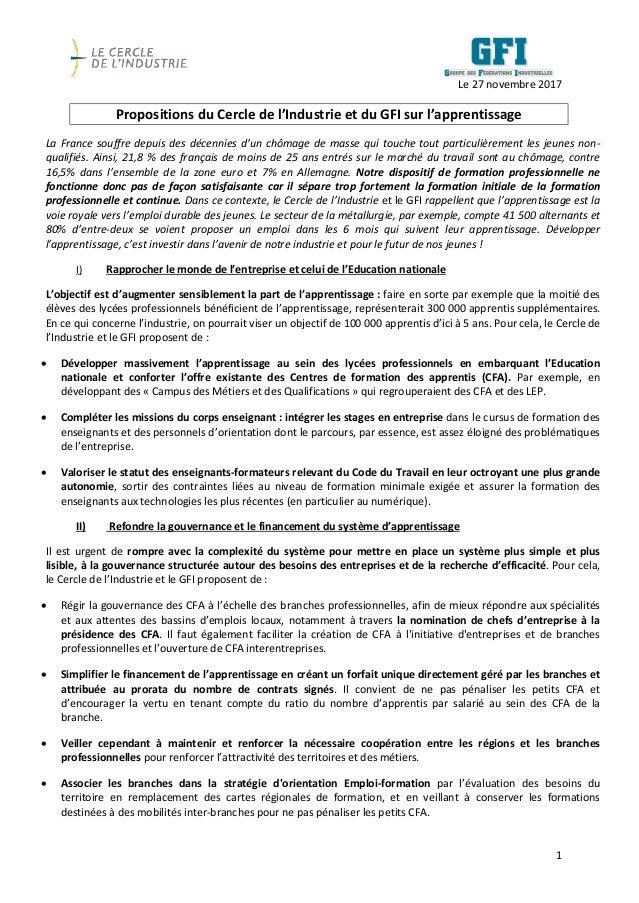 1 Le 27 novembre 2017 Propositions du Cercle de l'Industrie et du GFI sur l'apprentissage La France souffre depuis des déc...