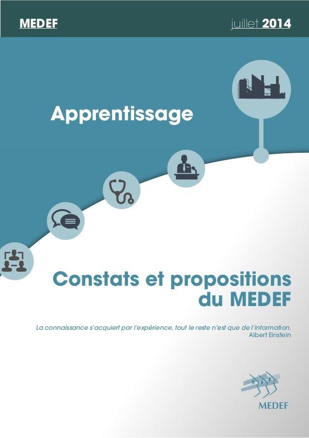 Constats et propositions du MEDEF Apprentissage La connaissance s'acquiert par l'expérience, tout le reste n'est que de l'...