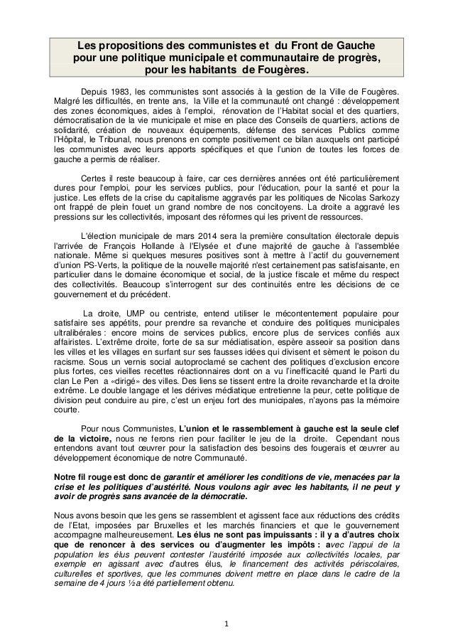 Les propositions des communistes et du Front de Gauche pour une politique municipale et communautaire de progrès, pour les...