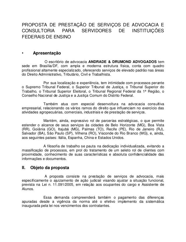PROPOSTA DE PRESTAÇÃO DE SERVIÇOS DE ADVOCACIA E CONSULTORIA PARA SERVIDORES DE INSTITUIÇÕES FEDERAIS DE ENSINO • Apresent...