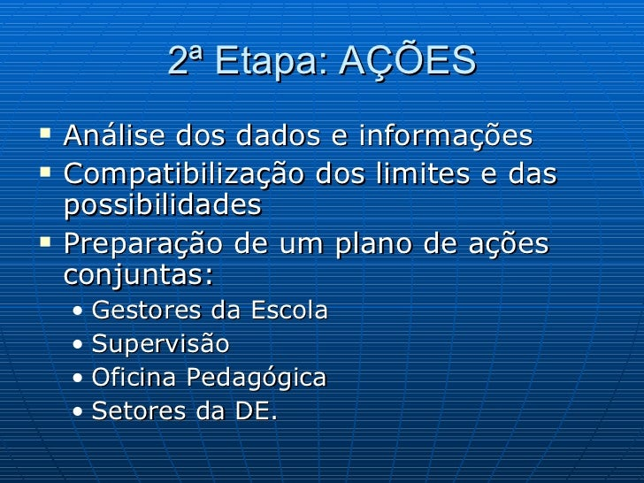 2ª Etapa: AÇÕES <ul><li>Análise dos dados e informações </li></ul><ul><li>Compatibilização dos limites e das possibilidade...