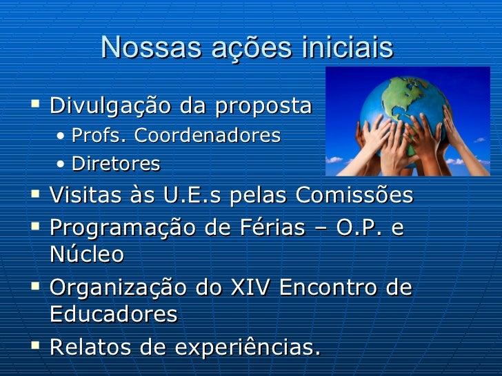 Nossas ações iniciais  <ul><li>Divulgação da proposta </li></ul><ul><ul><li>Profs. Coordenadores </li></ul></ul><ul><ul><l...
