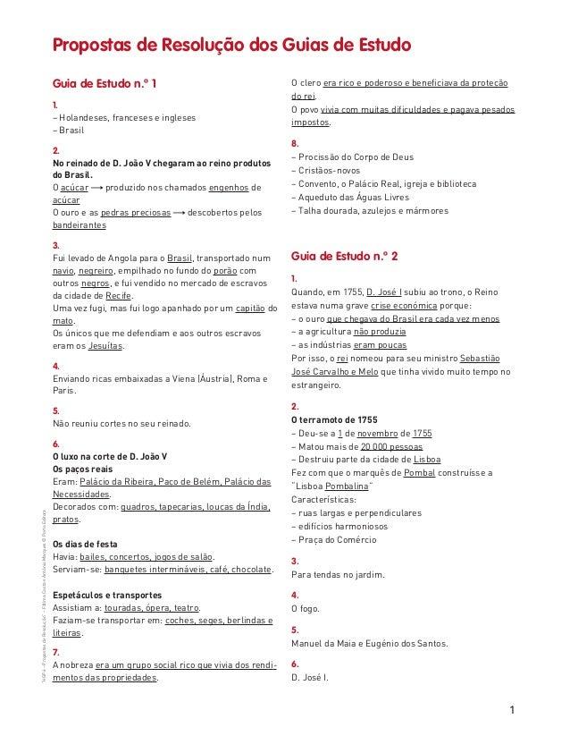 """1 """"HGP6–PropostasdeResolução""""–FátimaCostaeAntónioMarques©PortoEditora Guia de Estudo n.º 1 1. – Holandeses, franceses e in..."""