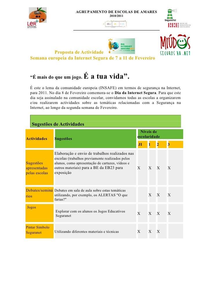 AGRUPAMENTO DE ESCOLAS DE AMARES                                                     2010/2011            Proposta de Acti...