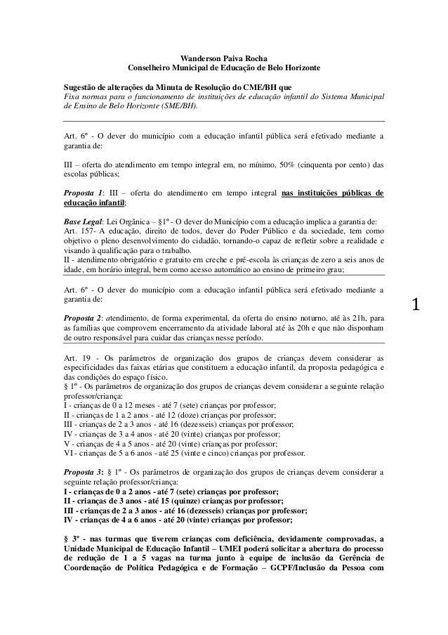 1  Wanderson Paiva Rocha  Conselheiro Municipal de Educação de Belo Horizonte  Sugestão de alterações da Minuta de Resoluç...