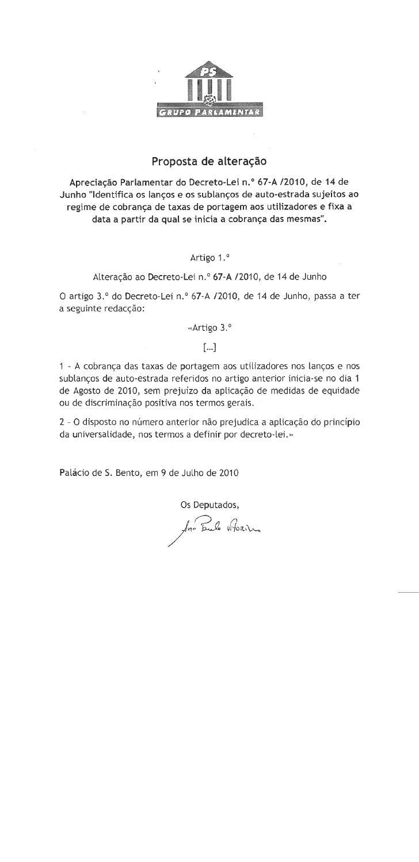 Proposta de alteração PS