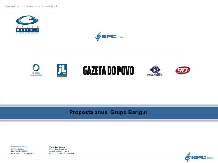 Proposta anual Grupo Barigui   Guilherme Vieira Ger. Comercial   [email_address] 41 3321- 5873 / 9957-3391 Veronica Souza ...