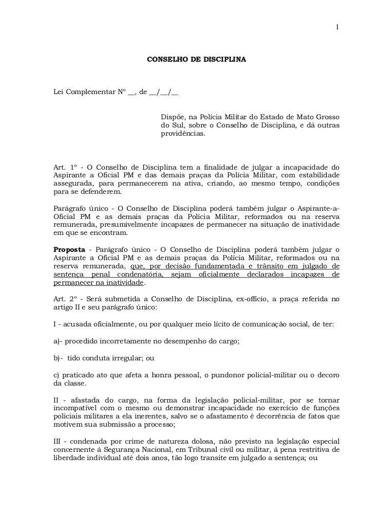 1                            CONSELHO DE DISCIPLINALei Complementar Nº __, de __/__/__                                 Dis...