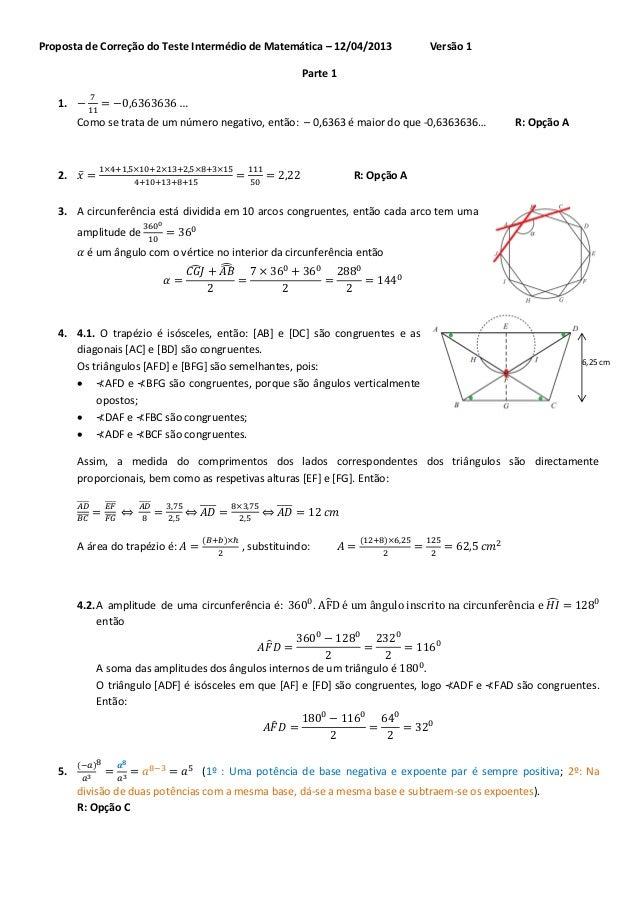 Proposta de Correção do Teste Intermédio de Matemática – 12/04/2013                       Versão 1                        ...