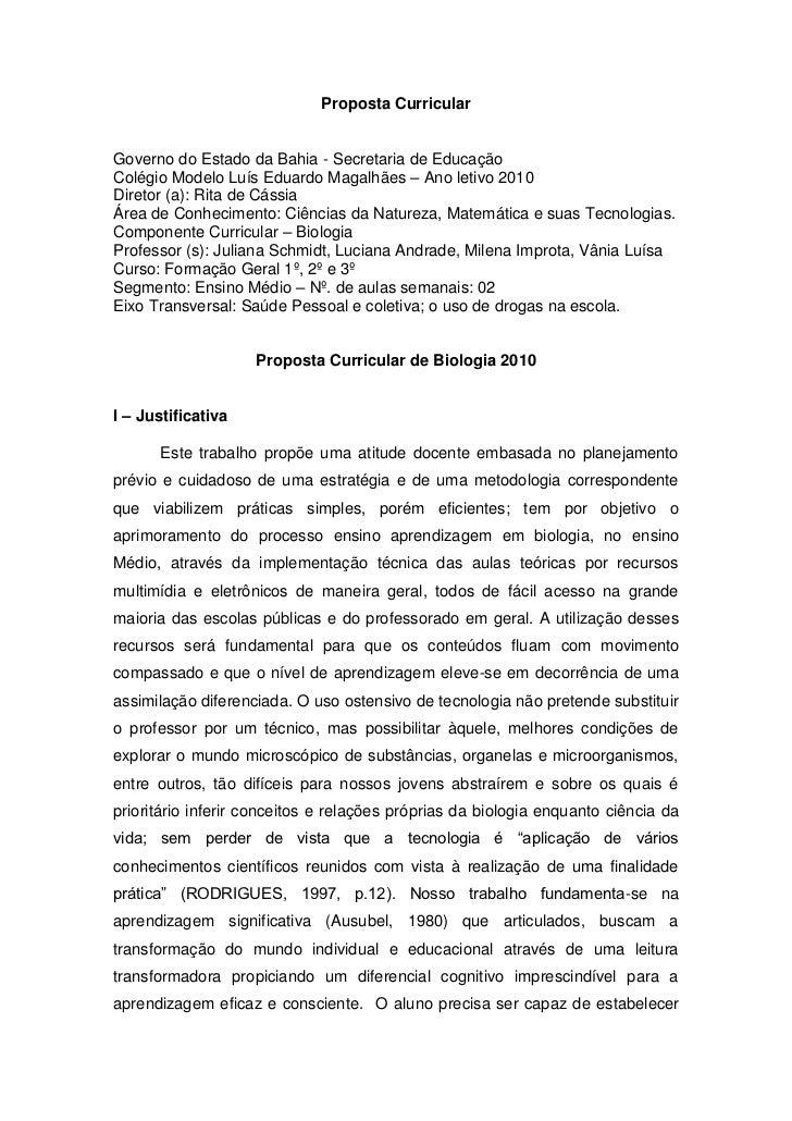 Proposta CurricularGoverno do Estado da Bahia - Secretaria de EducaçãoColégio Modelo Luís Eduardo Magalhães – Ano letivo 2...