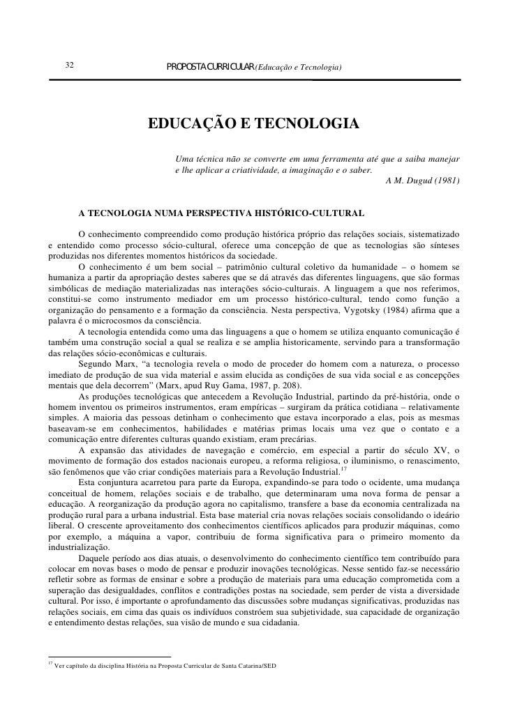 32                                   PROPOSTA CURRICULAR (Educação e Tecnologia)                                      EDUC...