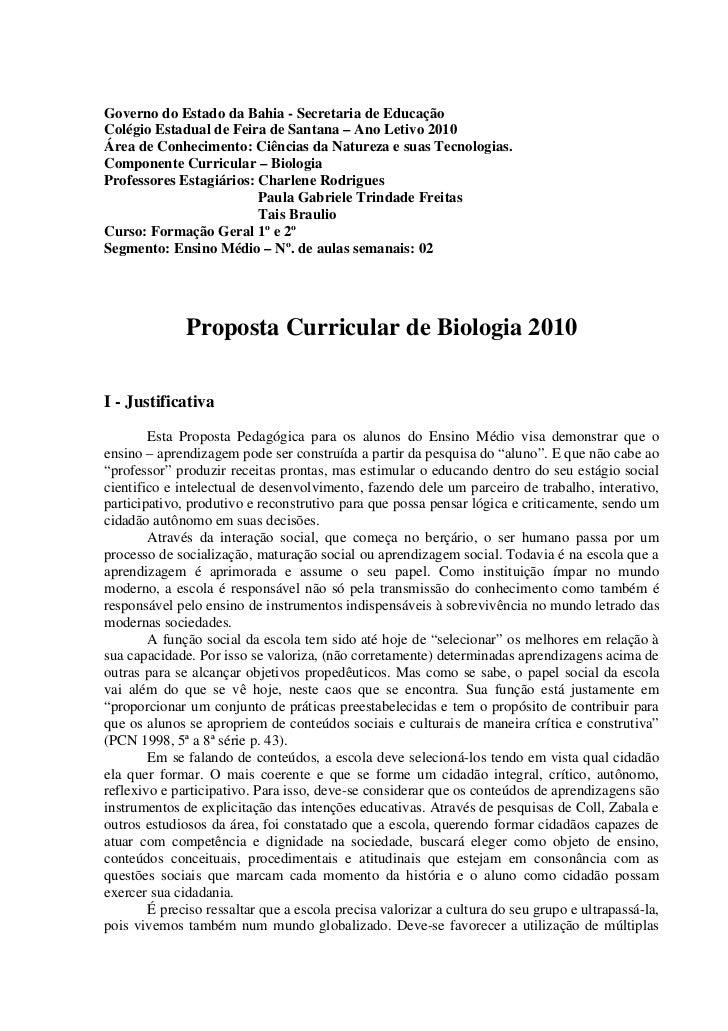 Governo do Estado da Bahia - Secretaria de EducaçãoColégio Estadual de Feira de Santana – Ano Letivo 2010Área de Conhecime...