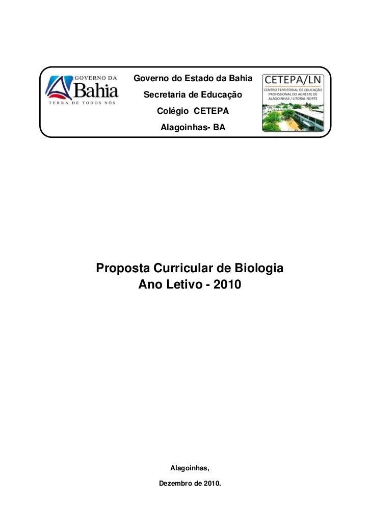 Governo do Estado da Bahia        Secretaria de Educação           Colégio CETEPA           Alagoinhas- BAProposta Curricu...