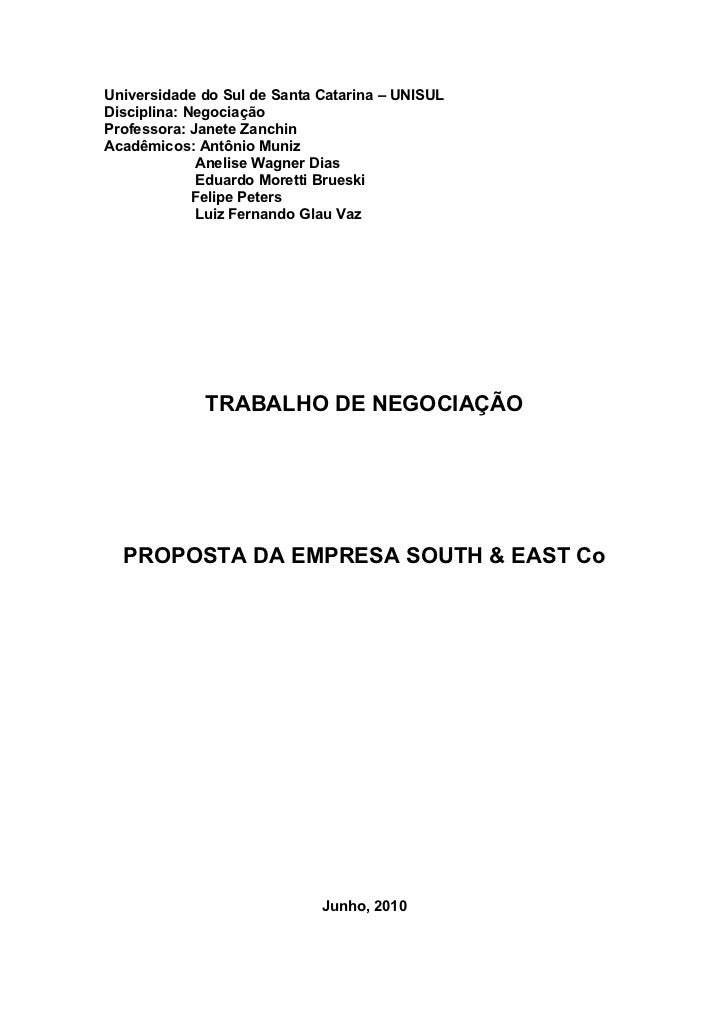 Proposta da empresa south & east
