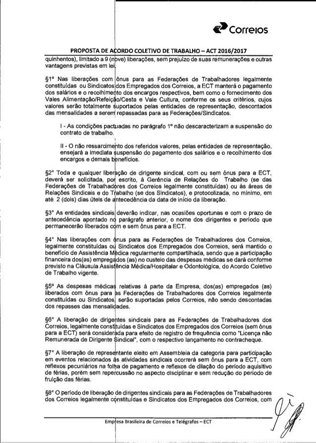 Proposta De Acordo Coletivo De Trabalho 2016 2017 13 09 2016