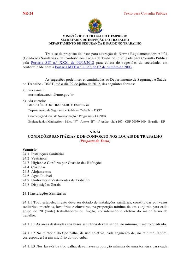 NR-24                                                                     Texto para Consulta Pública                     ...