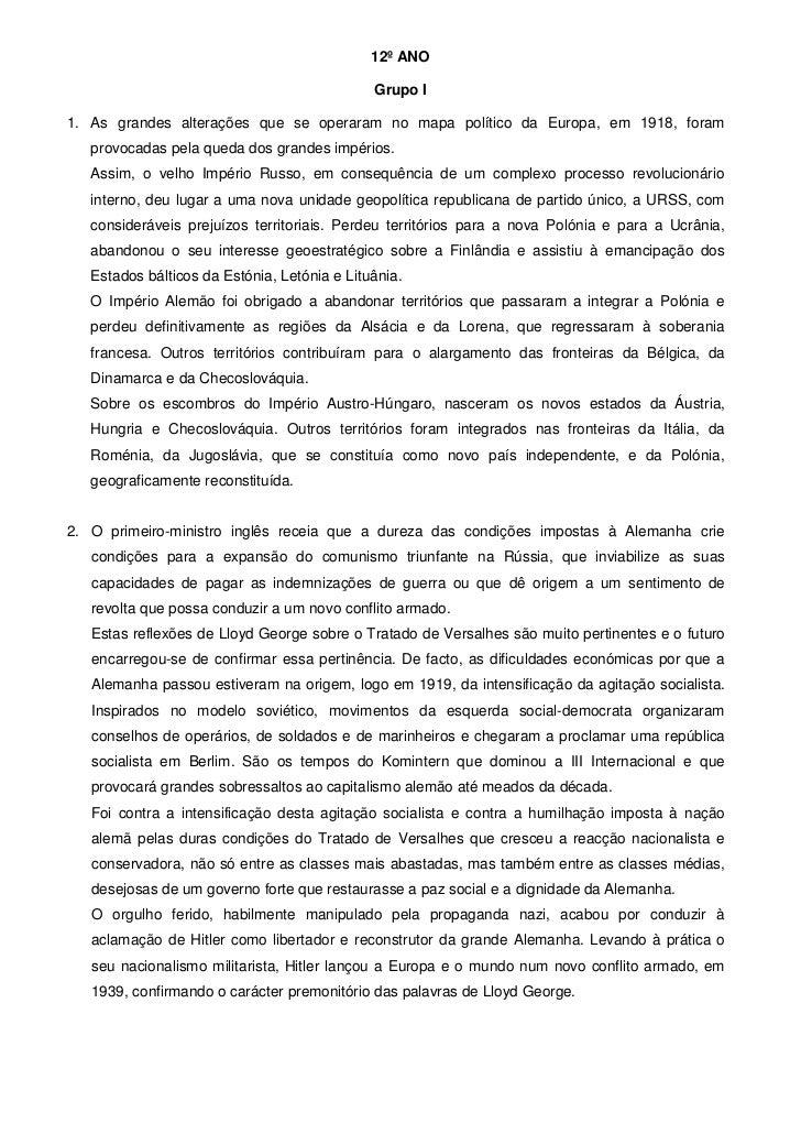12º ANO                                              Grupo I1. As grandes alterações que se operaram no mapa político da E...