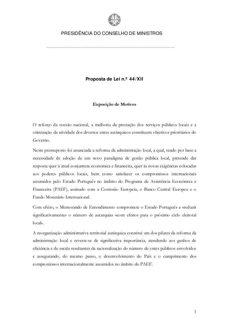 PRESIDÊNCIA DO CONSELHO DE MINISTROS                             Proposta de Lei n.º 44/XII                               ...
