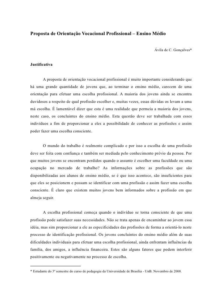 Proposta de Orientação Vocacional Profissional – Ensino Médio                                                             ...