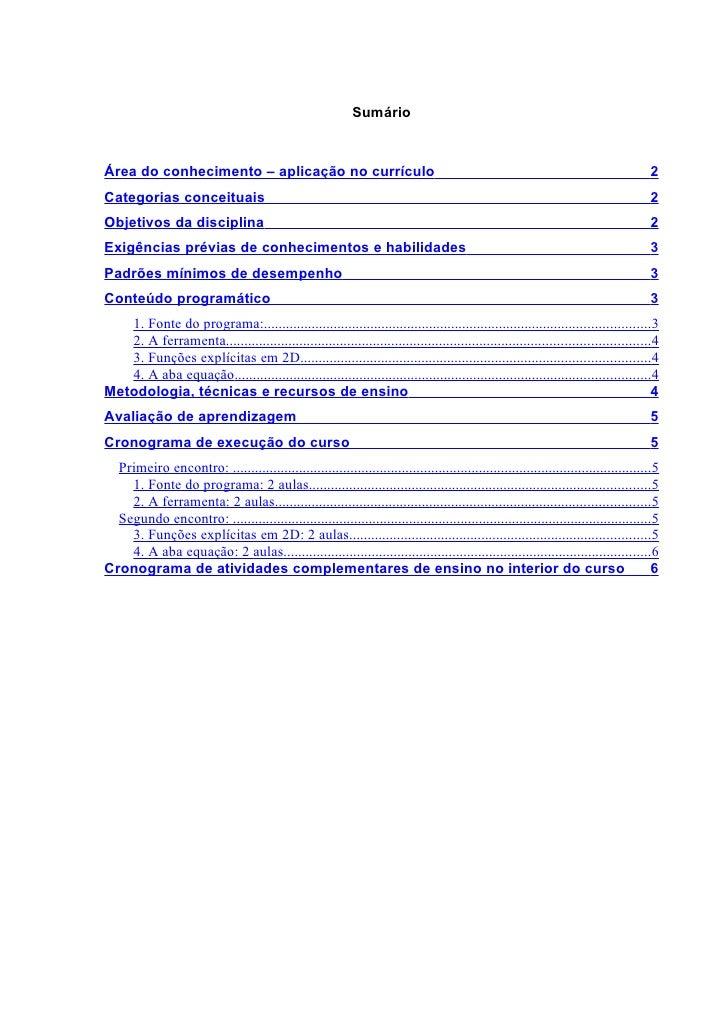 Sumário    Área do conhecimento – aplicação no currículo                                                                  ...