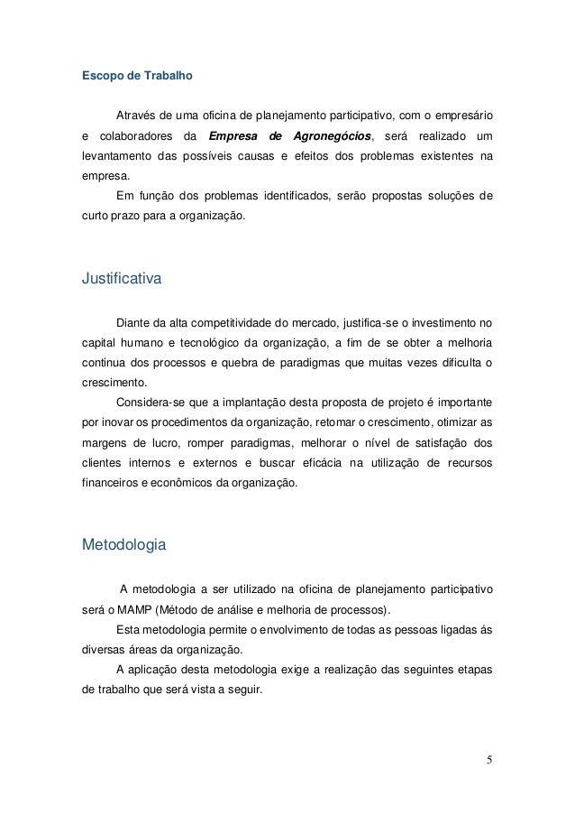 5 Escopo de Trabalho Através de uma oficina de planejamento participativo, com o empresário e colaboradores da Empresa de ...
