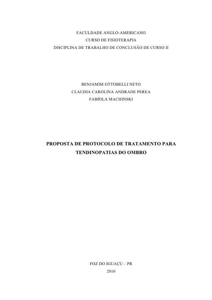 FACULDADE ANGLO-AMERICANO               CURSO DE FISIOTERAPIA  DISCIPLINA DE TRABALHO DE CONCLUSÃO DE CURSO II            ...