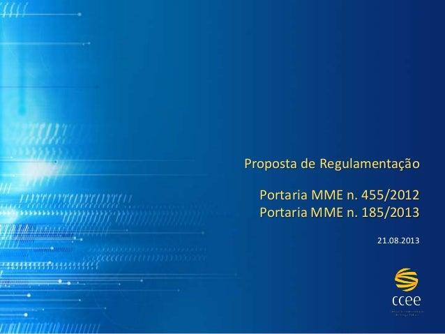 Proposta de Regulamentação Portaria MME n. 455/2012 Portaria MME n. 185/2013 21.08.2013