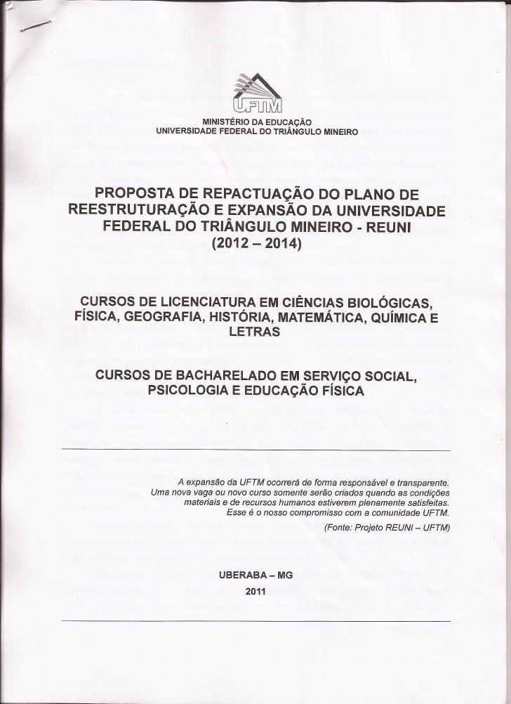 Proposta de Repactuação do Plano  de Reestruturação e Expansão do REUNI