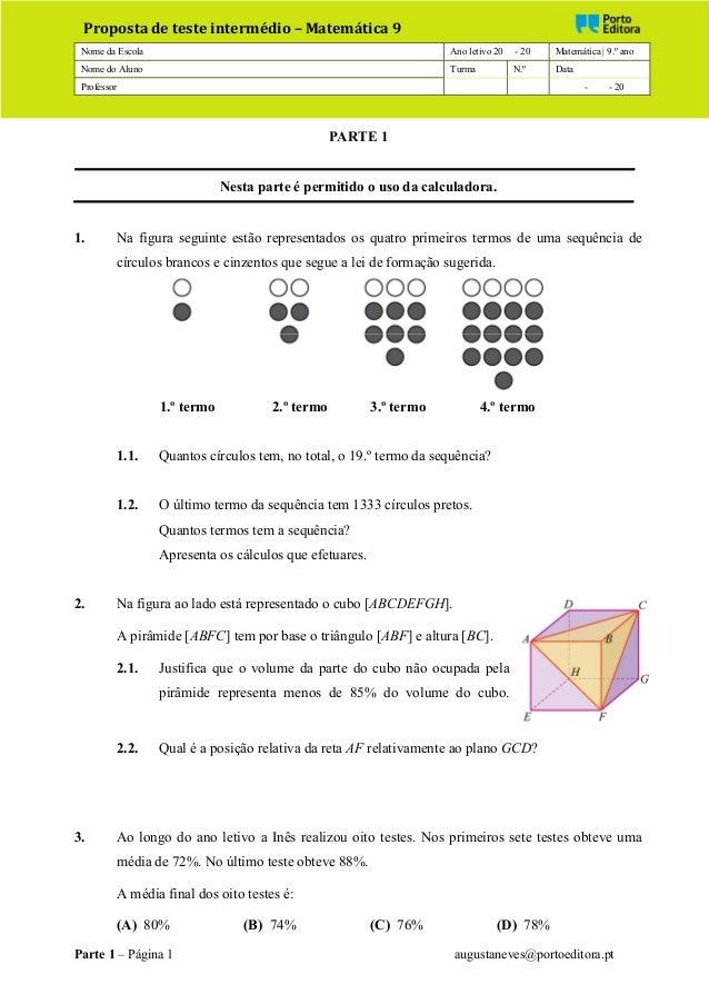 Nome da Escola Ano letivo 20 - 20 Matemática | 9.º ano Nome do Aluno Turma N.º Data Professor - - 20 Parte 1 – Página 1 au...