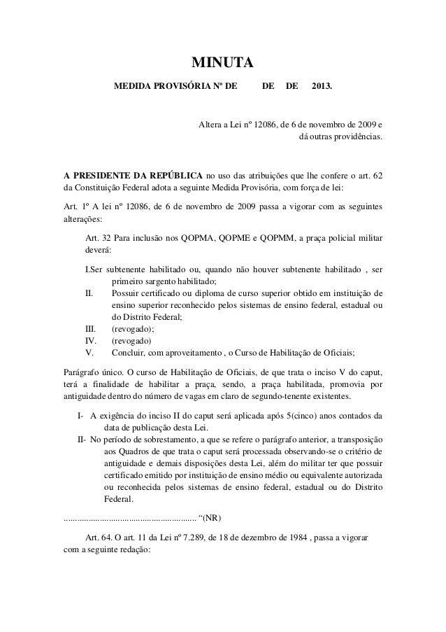 MINUTA                    MEDIDA PROVISÓRIA Nº DE                             DE     DE     2013.                         ...