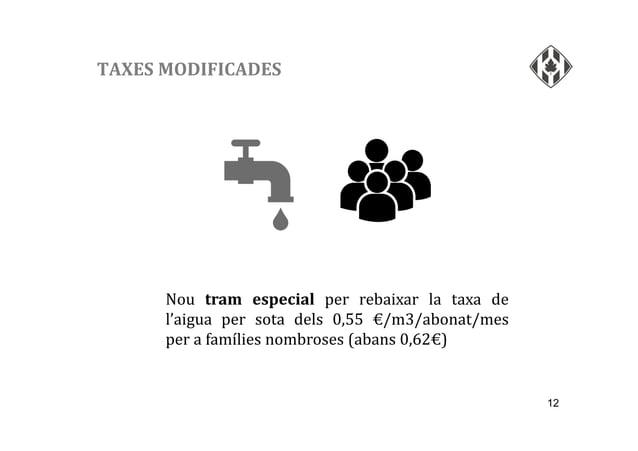 12 TAXES MODIFICADES Nou tram especial per rebaixar la taxa de l'aigua per sota dels 0,55 €/m3/abonat/mes per a famílies n...
