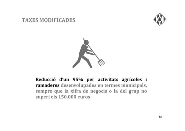 18 TAXES MODIFICADES Reducció d'un 95% per activitats agrícoles i ramaderes desenvolupades en termes municipals, sempre qu...