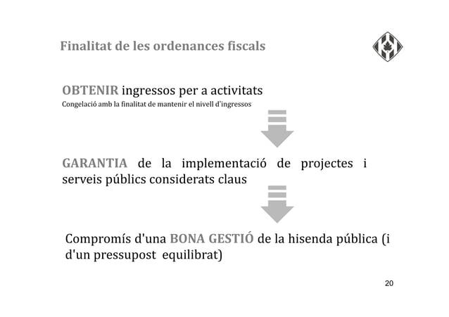 20 OBTENIR ingressos per a activitats Congelació amb la finalitat de mantenir el nivell d'ingressos GARANTIA de la impleme...