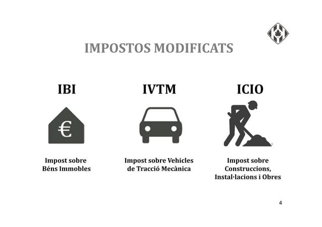 4 IMPOSTOS MODIFICATS IBI IVTM ICIO Impost sobre Vehicles de Tracció Mecànica Impost sobre Béns Immobles Impost sobre Cons...