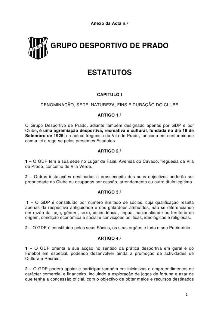 Anexo da Acta n.º            GRUPO DESPORTIVO DE PRADO                               ESTATUTOS                            ...