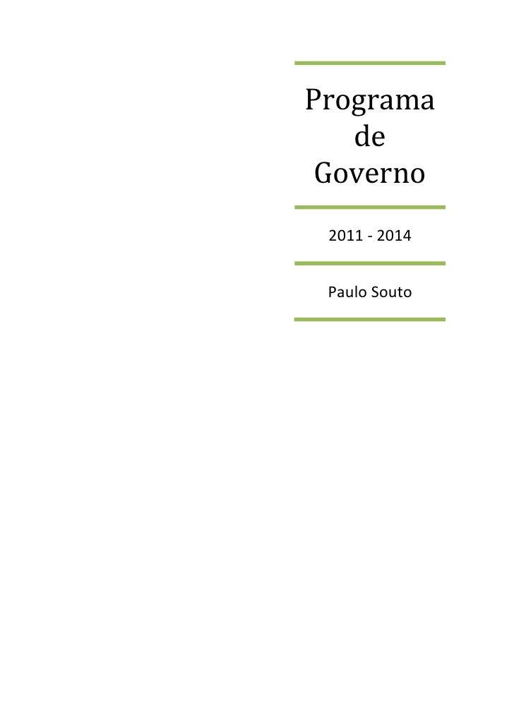 Programa    de  Governo  2011 - 2014    Paulo Souto