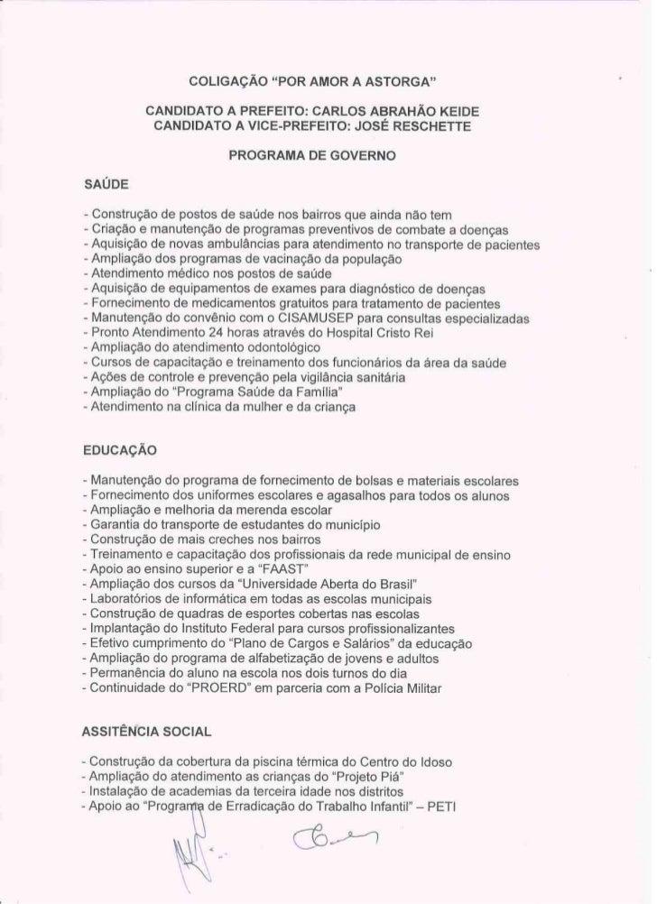 ELEIÇÃO 2012 - ASTORGA: PROPOSTAS DE CARLOS KEIDE