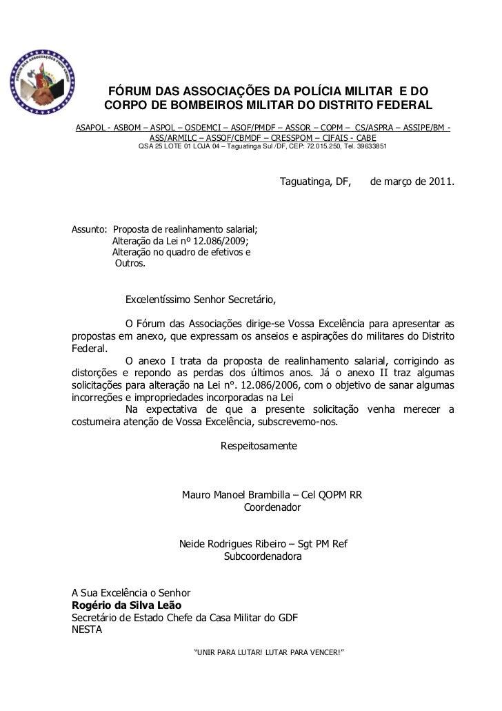 FÓRUM DAS ASSOCIAÇÕES DA POLÍCIA MILITAR E DO       CORPO DE BOMBEIROS MILITAR DO DISTRITO FEDERALASAPOL - ASBOM – ASPOL –...