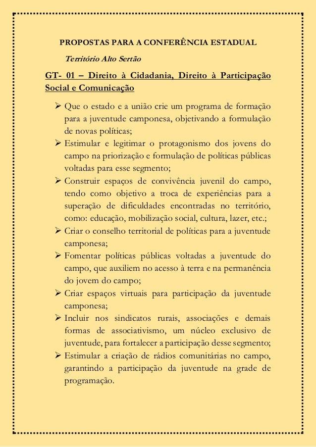 PROPOSTAS PARA A CONFERÊNCIA ESTADUAL Território Alto Sertão GT- 01 – Direito à Cidadania, Direito à Participação Social e...