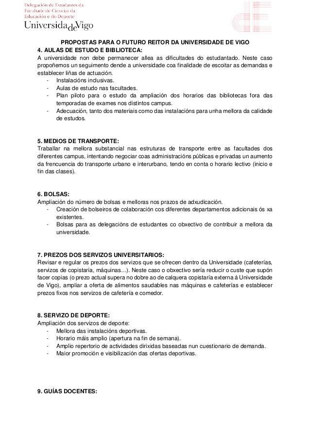 Propostas ao candidato a reitor Manuel Reigosa