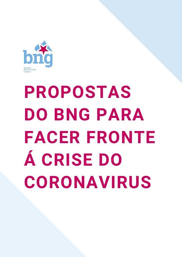 PROPOSTAS DO BNG PARA FACER FRONTE Á CRISE DO CORONAVIRUS