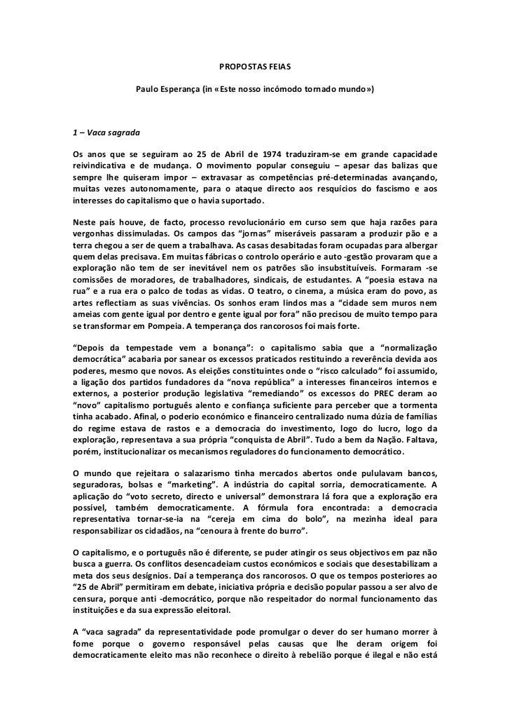 PROPOSTASFEIAS                 PauloEsperança(in«Estenossoincómodotornadomundo»)1–VacasagradaOs anos que...