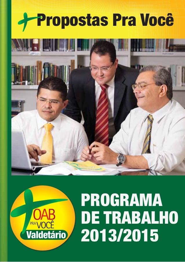 Propostas Pra Você     PROGRAMA     DE TRABALHO     2013/2015