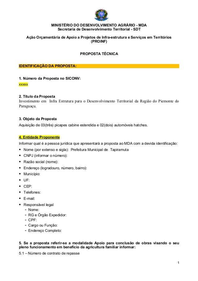 MINISTÉRIO DO DESENVOLVIMENTO AGRÁRIO - MDA Secretaria de Desenvolvimento Territorial - SDT Ação Orçamentária de Apoio a P...