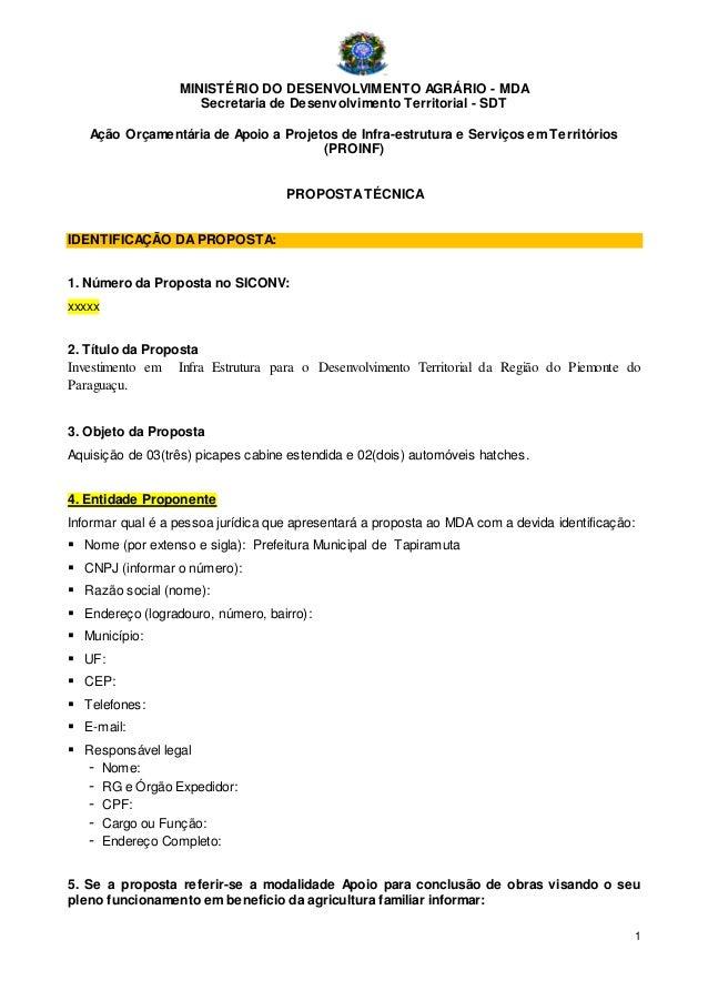 1 MINISTÉRIO DO DESENVOLVIMENTO AGRÁRIO - MDA Secretaria de Desenvolvimento Territorial - SDT Ação Orçamentária de Apoio a...